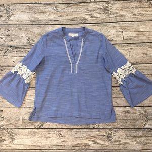 Loft Chambray Shirt/Tunic with Lace Detail